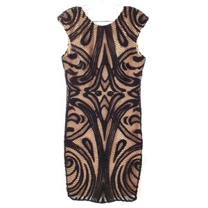 Lumier by Bariano Sheath Dress Nude Black Lace L